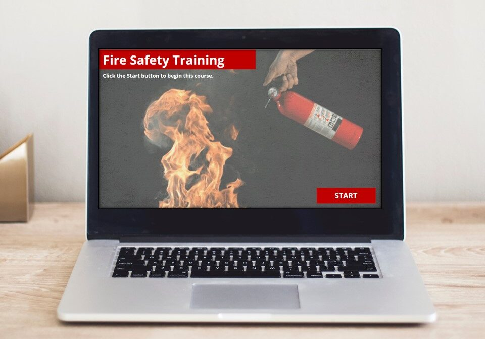 Start screen of eLearning course in computer monitor: Fire Safety Training
