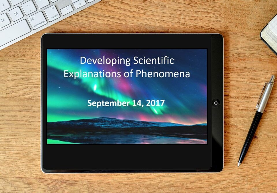 Cover slide of ILT in tablet. Developing Scientific Explanations of Phenomena