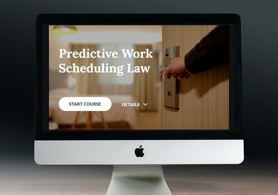 Start screen of eLearning course in computer monitor: Predictive Work Scheduling Law